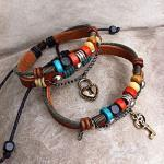 Handmade Leather Bracelets for Couple- Key To Heart