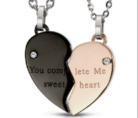 Heart Shape Necklaces for Couple-you complete me sweet heart
