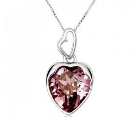 Cute Heart Necklace with Swarovski Element