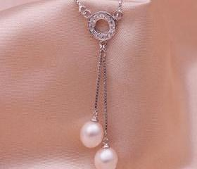 Rhodium Plated Fresh Water Pearl Pendant - Swing Pearls